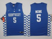 Mens Ncaa Nba Kentucky Wildcats #5 Malik Monk Blue College Basketball Jersey