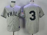 Mens Mlb Philadelphia Phillies #3 Chuck Klein Gray 1942 Authentic Baseball Jersey