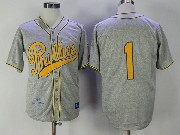 Mens Mlb Philadelphia Phillies #1 Richie Ashburn Gray Chuck Klein 1938 Authentic Baseball Jersey