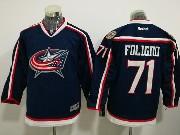 Youth Reebok Nhl Columbus Blue Jackets #71 Nick Foligno Dark Blue Home Premier Jersey