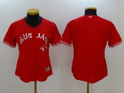 Women Mlb Toronto Blue Jays Blank Red Cool Base Jersey