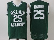 Mens Nba Movie The Fresh Prince Of Bel-air Academy #25 Carlton Banks Green Jersey