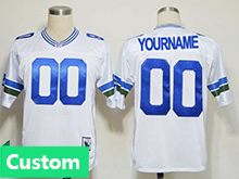 Nfl Seattle Seahawks (custom Made) White Throwbacks Jersey