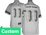 Mens Women Youth Ncaa Nfl Ohio State Buckeyes Custom Made White&silver Limited Star Back Jersey