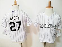 Kids Mlb Majestic Colorado Rockies #27 Trevor Story White Stripe Jersey