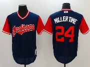 Mens Mlb Cleveland Indians #24 Andrew Miller  Miller Time Blue 2017 Players Weekend Jersey