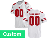 Mens Women Youth Ncaa Nfl Wisconsin Badgers Under Armour Custom Made White Game Jersey