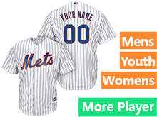 Mens Womens Youth Majestic New York Mets White Stripe Cool Base Current Player Jersey