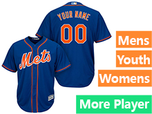 Mens Womens Youth Majestic New York Mets Blue Cool Base Current Player Jersey