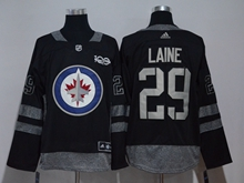 Mens Nhl Winnipeg Jets #29 Laine Black 100 Anniversary Adidas Jersey