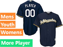 Mens Womens Youth Majestic Milwaukee Brewers Navy Blue Cool Base Current Player Jersey