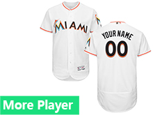 Mens Majestic Miami Marlins White Flex Base Current Player Jersey