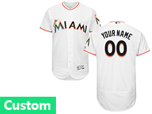 Mens Mlb Miami Marlins Custom Made White Flex Base Jersey