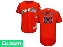 Mens Mlb Miami Marlins Custom Made Orange Flex Base Jersey