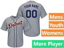 Mens Womens Youth Majestic Detroit Tigers Gray Cool Base Current Player Jersey