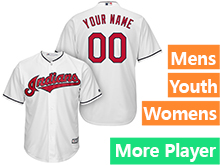 Mens Womens Youth Majestic Cleveland Indians White Cool Base Current Player Jersey