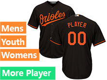 Mens Womens Youth Majestic Baltimore Orioles Black Cool Base Current Player Jersey