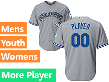Mens Women Youth Majestic Toronto Blue Jays Gray Cool Base Current Player Jersey