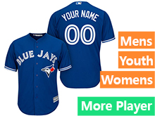 Mens Women Youth Majestic Toronto Blue Jays Blue Cool Base Current Player Jersey
