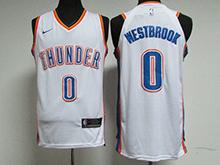 Mens Nba Oklahoma City Thunder #0 Russell Westbrook White Nike Jersey