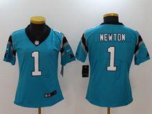 Women Nfl Carolina Panthers #1 Cam Newton Blue Vapor Untouchable Limited Jersey