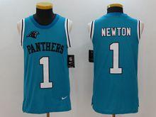 Mens Nfl Carolina Panthers #1 Cam Newton Blue Tank Top Jersey