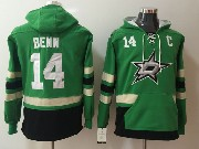 Mens Nhl Dallas Stars #14 Jamie Benn Green Pocket Hoodie Jersey