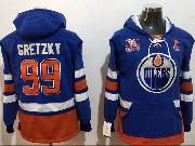 Mens Nhl Edmonton Oilers #99 Wayne Gretzky Blue Pocket Hoodie Jersey
