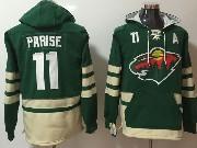 Mens Nhl Minnesota Wild #11 Zach Parise Green One Front Pocket Hoodie Jersey