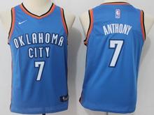 Youth Oklahoma City Thunder #7 Carmelo Anthony Blue Swingman Nike Jersey
