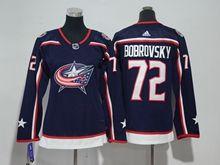 Youth Women Nhl Columbus Blue Jackets #72 Sergei Bobrovsky Blue Adidas Jersey