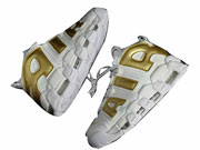 Nike Air More Uptempo Running Shoes White And Glod Colour