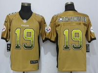 Mens Nfl Pittsburgh Steelers #19 Smith-schuster Drift Fashion Gold Elite Jersey