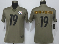 Women Nfl Pittsburgh Steelers #19 Smith-schuster Green Olive Salute To Service Elite Nike Jersey
