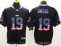 Mens Nfl Indianapolis Colts #19 Johnny Unitas Usa Black Flag Fashion Elite Jerseys