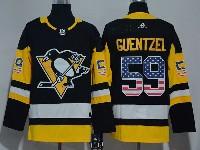 Mens Nhl Pittsburgh Penguins #59 Jake Guentzel Black (usa Flag Fashion) Adidas Jersey