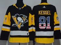 Mens Nhl Pittsburgh Penguins #81 Phil Kessel Black (usa Flag Fashion) Adidas Jersey