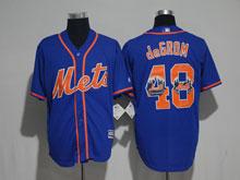 Mens Mlb New York Mets #48 Jacob Degrom Blue (orange Number) 2017 Flex Base Jersey