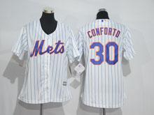 Women Mlb New York Mets #30 Michael Conforto White (blue Strip) Jersey
