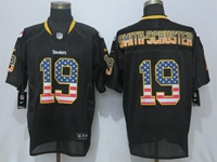New Mens Nfl Pittsburgh Steelers #19 Smith-schuster Black (usa Flag Fashion) Elite Jersey