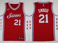 Mens 2017-18 Season Nba Philadelphia 76ers #21 Joel Embiid Red Swingman Nike Jersey