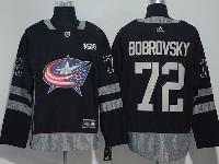 Mens Nhl Columbus Blue Jackets #72 Sergei Bobrovsky Black 100 Anniversary Adidas Jersey