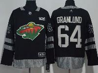 Mens Nhl Minnesota Wild #64 Granlund Black 100 Anniversary Adidas Jersey
