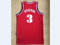 Mens Nba Philadelphia 76ers #3 Allen Iverson Red Star Nike Jersey