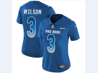 Women Nfl Seattle Seahawks #3 Russell Wilson Blue 2018 Pro Bowl Vapor Untouchable Jersey