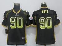 Women Nfl Pittsburgh Steelers #90 T. J. Watt Black Drift Fashion Elite Nike Jersey