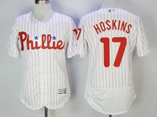 Mens Majestic Philadelphia Phillies #17 Rhys Hoskins White Stripe Flex Base Jersey