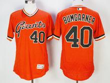 Mens Majestic San Francisco Giants #40 Madison Bumgarner Orange Pullover Flex Base Jersey