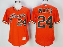 Mens Majestic San Francisco Giants #24 Willie Mays Orange Pullover Flex Base Jersey