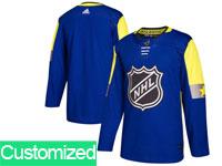Mens 2018 Nhl All-star Game Custom Made Breakaway Adidas Blue Jersey